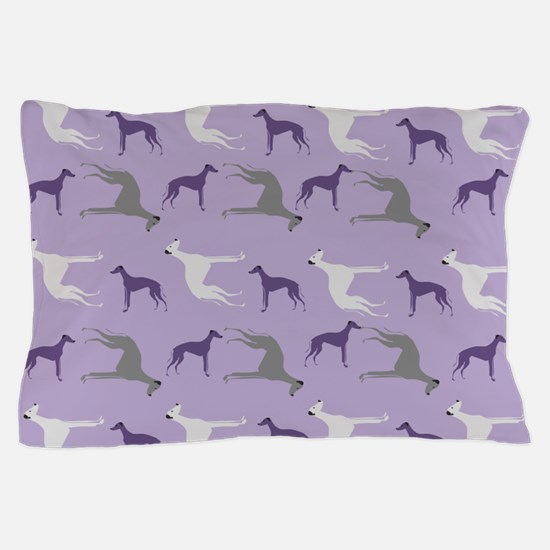 Greyhounds on Purple Pillow Case