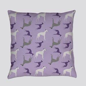 Greyhounds on Purple Everyday Pillow