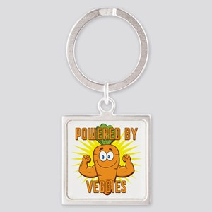 Powered by Veggies Square Keychain