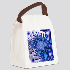Groovy Trippy Cool Blue Fractal A Canvas Lunch Bag