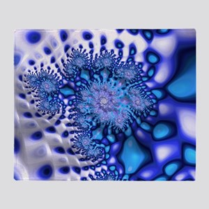 Groovy Trippy Cool Blue Fractal Art Throw Blanket