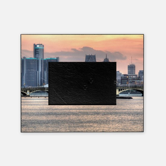 Detroit HDR Skyline II - Rotated Picture Frame