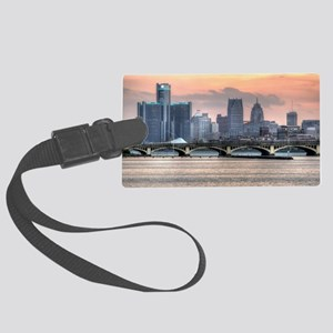 Detroit HDR Skyline II - Rotated Large Luggage Tag