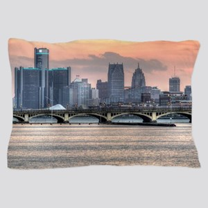Detroit HDR Skyline II - Rotated Pillow Case
