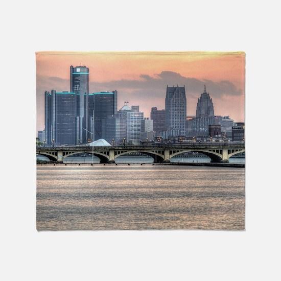 Detroit HDR Skyline II - Rotated Throw Blanket