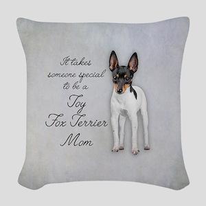 Toy Fox Terrier Mom Woven Throw Pillow