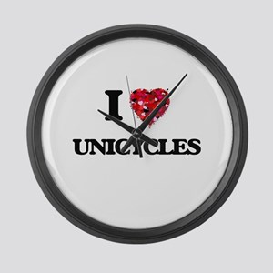 I love Unicycles Large Wall Clock