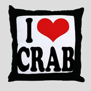 I Love Crab Throw Pillow