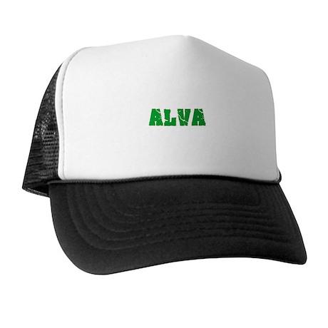 Alva Name Weathered Green Design Trucker Hat