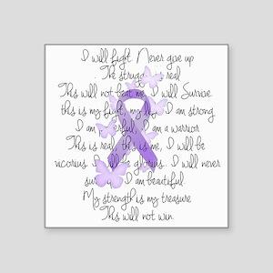 "Purple Ribbon, poem Square Sticker 3"" x 3"""