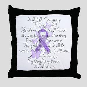 Purple Ribbon, poem Throw Pillow