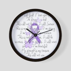 Purple Ribbon, poem Wall Clock