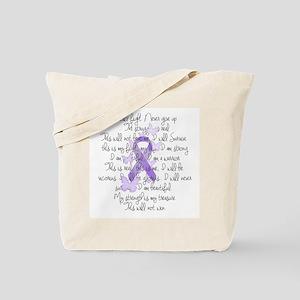 Purple Ribbon, poem Tote Bag