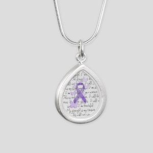 Purple Ribbon, poem Silver Teardrop Necklace