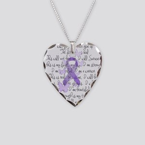 Purple Ribbon, poem Necklace Heart Charm