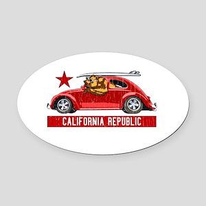 California Republic Surfer Bear Oval Car Magnet