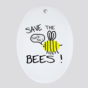 save the bees Ornament (Oval)