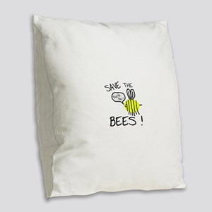 save the bees Burlap Throw Pillow
