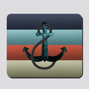 Nautical Anchor Flag Mousepad