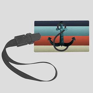 Nautical Anchor Flag Large Luggage Tag