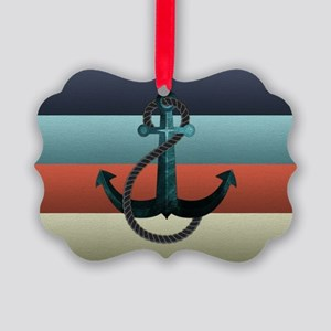 Nautical Anchor Flag Picture Ornament
