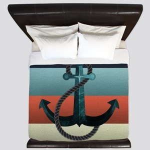 Nautical Anchor Flag King Duvet