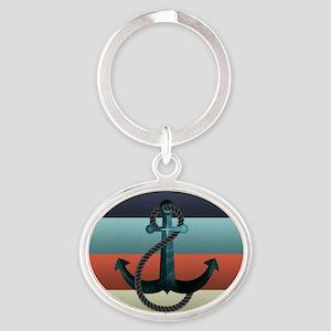 Nautical Anchor Flag Oval Keychain