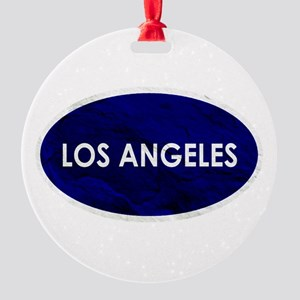 Los Angeles Blue Stone Round Ornament