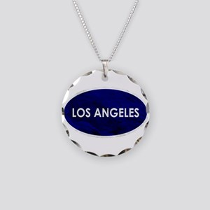 Los Angeles Blue Stone Necklace Circle Charm