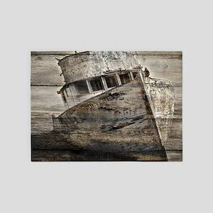rustic boat beach nautical 5'x7'Area Rug