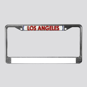 Los Angeles Red White Stone License Plate Frame