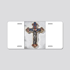 Crucifix Aluminum License Plate