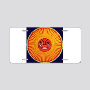 Huichol_String_Art_Sun_dark Aluminum License Plate