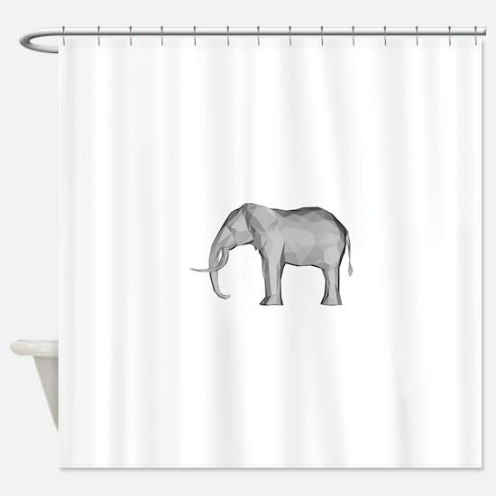 Geometric Grey Elephant Shower Curtain