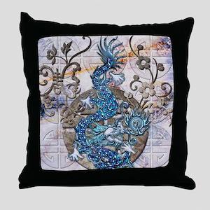Harvest Moons Lapis Dragon Throw Pillow