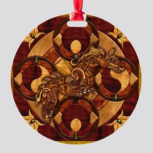 Harvest Moons Marquetry Dragon Round Ornament