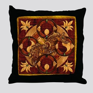 Harvest Moons Marquetry Dragon Throw Pillow