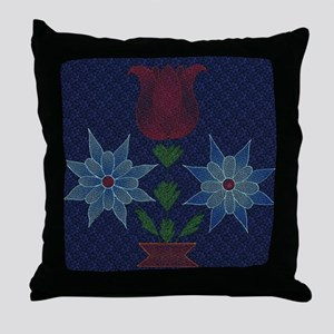 Harvest Moons Cross Stitch Tulips Throw Pillow