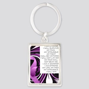 Pink Ribbon, the Fight Portrait Keychain