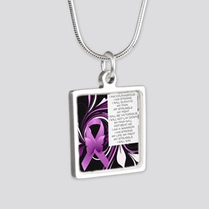 Pink Ribbon, the Fight Silver Square Necklace