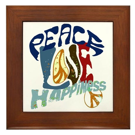 Peace Love and Happiness #P2 Framed Tile