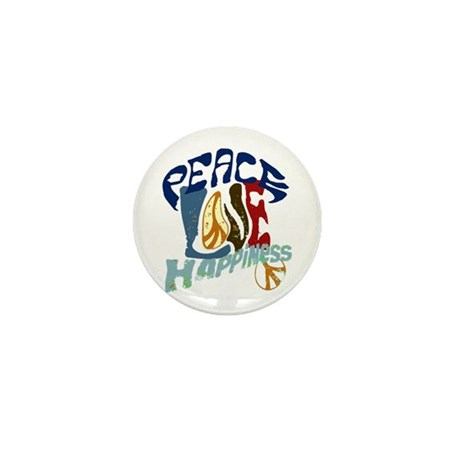 Peace Love and Happiness #P2 Mini Button (10 pack)