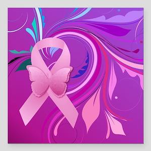"""Pink Awareness Ribbon Square Car Magnet 3"""" x 3"""""""