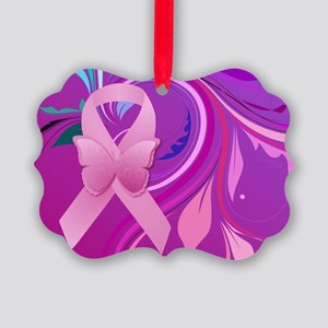 Pink Awareness Ribbon Picture Ornament