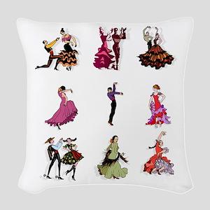 Flamenco Spanish Dancing Woven Throw Pillow