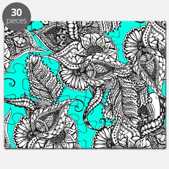 Boho black white hand drawn floral doodles  Puzzle