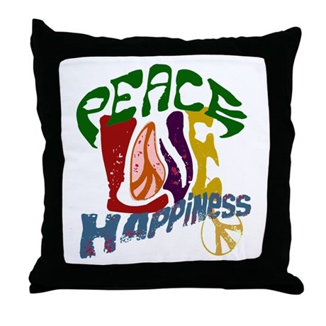 Peace Love Happiness #P4 Throw Pillow