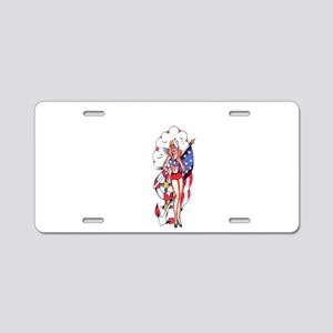 PATRIOTIC_GIRL_ TATTOO Aluminum License Plate
