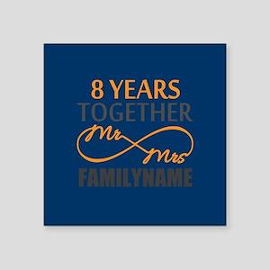 "8th Anniversary Infinity Mr Square Sticker 3"" x 3"""