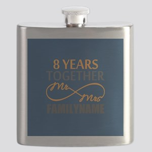 8th Anniversary Infinity Mr and Mrs Personal Flask